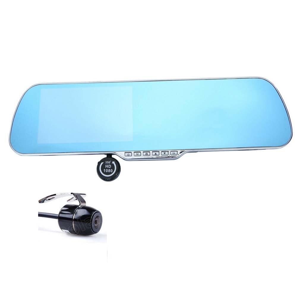 4.3 pouce vue Arrière de miroir De Voiture DVR double lentille 1080 p nuit vision G-Capteur de Mouvement Dection enregistreur vidéo dash caméra numérique zoom