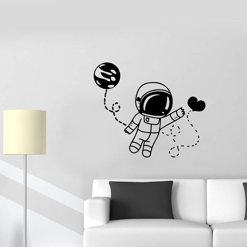 Wall Decal Astronaut Space Man Universe Love Moon Way Feelings Attraction Valentine's Day Vinyl Sticker Removable Art Mural L993