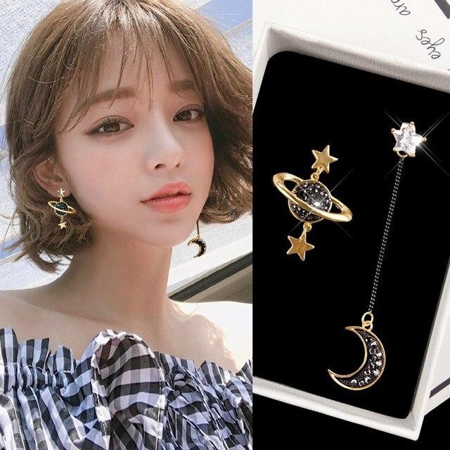 Nuevo asimétrico estrella Luna pendientes de moda de las mujeres temperamento coreano pendiente largo personalidad joyas oído exquisitos pendientes