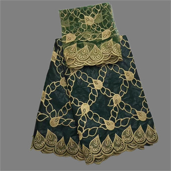 Последние темно-зеленый 5 ярдов Африканский Базен Riche кружевная ткань с 2 ярдов чистая блузка Ткань для шитья комплект с платьем OBN16