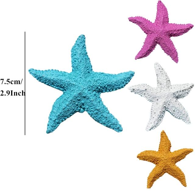 VILEAD 2.9'' Resin Starfish Figurines 4 Colors Mediterranean Style Home Decoration Mini Starfish Ornament for Taking Photo Props 3