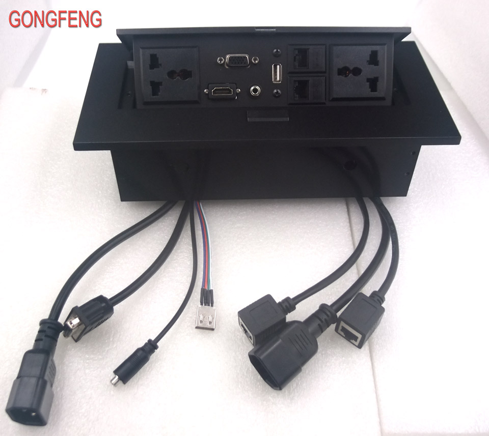 Spécial vente chaude nouveau K514 multimédia bureau universel prise d'alimentation HDMI connexion gratuite boîte bureau conférence Table prise