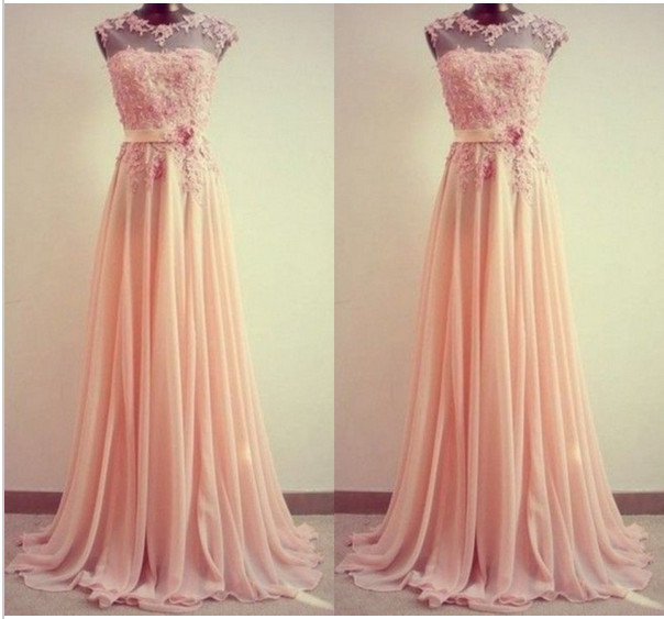 2016 New Pink Coral Lace Appliques Sheer Top Chiffon Cap Sleeve Floor Length Long   Bridesmaid     Dress   Guest Gowns