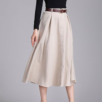 Winter Long Skirts For Women Solid Button Sueded Pleated Maxi Skirt 2017 Western Style High Waist