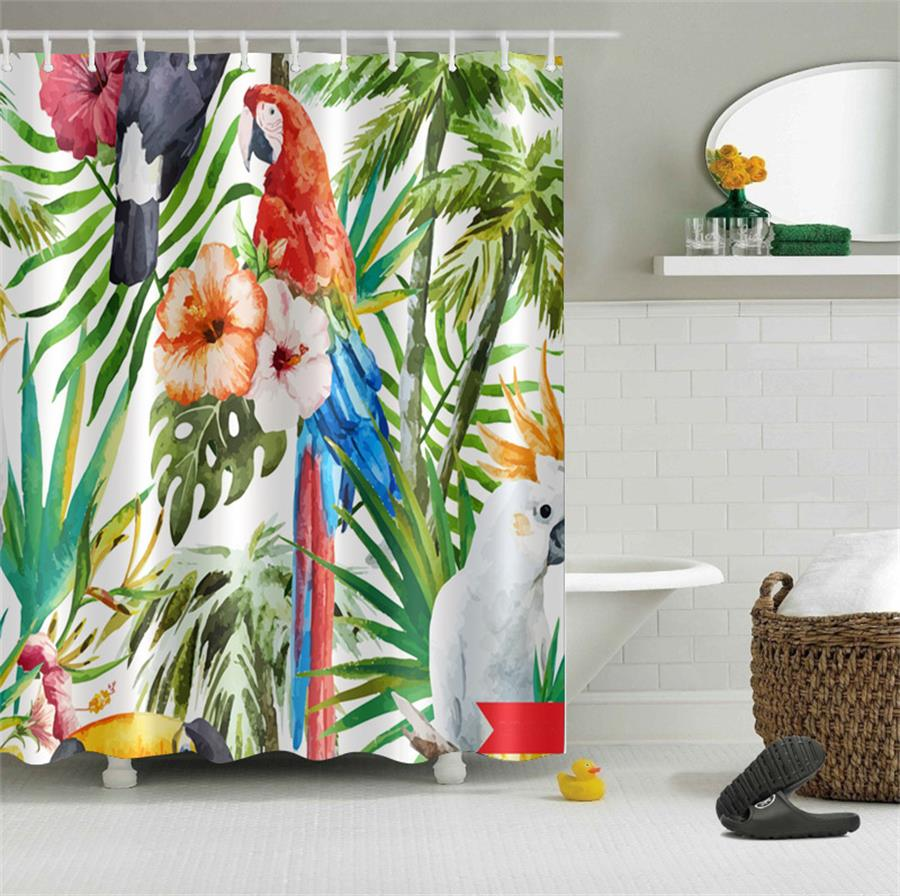 Vintage Tropical Island Woods Color Parrots Bathroom Shower Curtain Waterproof Polyester & 12 Hooks Bath Accessory Set