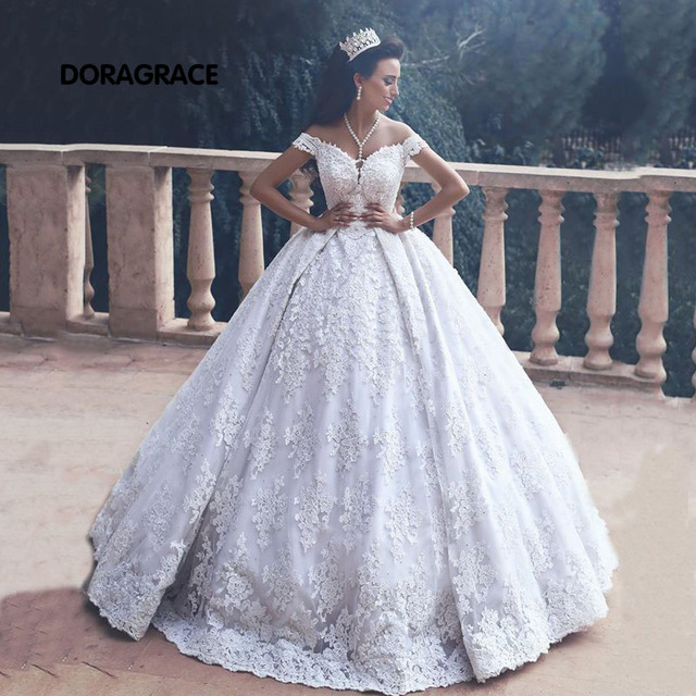 d77a235ead34 Glamorous Applique Off-Shoulder Lace Ball Gown Princess Wedding Gowns  Designer Wedding Dresses DG0107