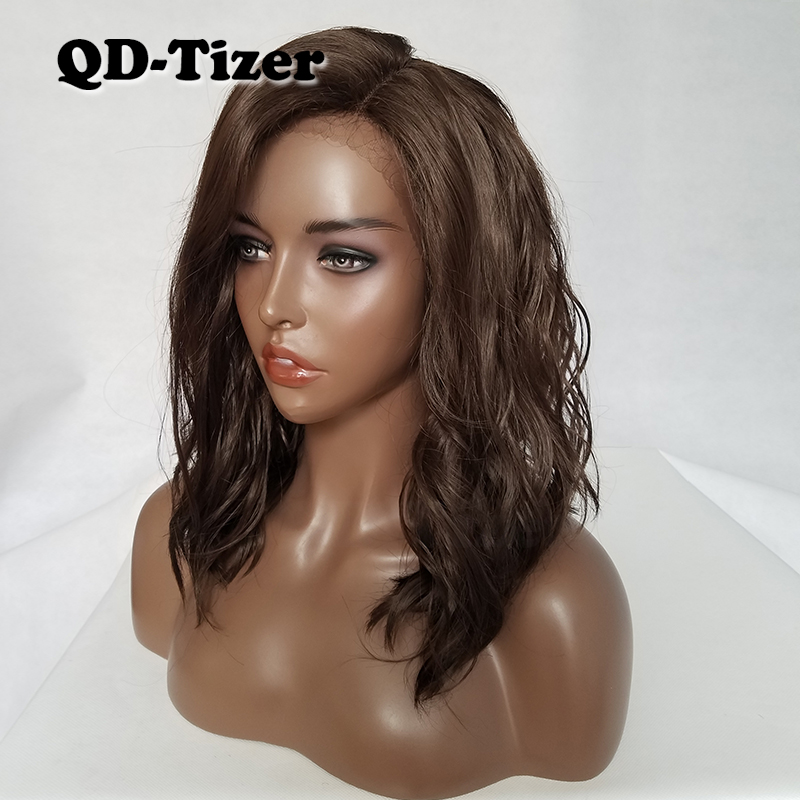 QD Tizer Short Wavy Hair Dark Brown #8 Color Bob Lace Wigs Glueless LOB Synthetic Lace Front Wigs for Fashion Women