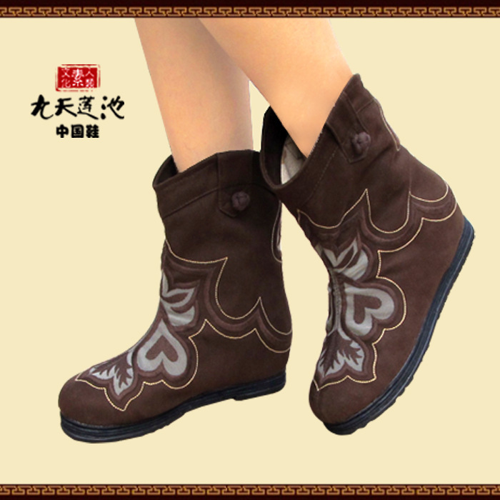 2015 New Arrival Spring Autumn Women Flats Embroidery Vintage Round Toe National Style Fashion Ankle Boots Size 35-40 SXQ0812 women spring autumn thick mid heel genuine leather round toe 2015 new arrival fashion martin ankle boots size 34 40 sxq0902