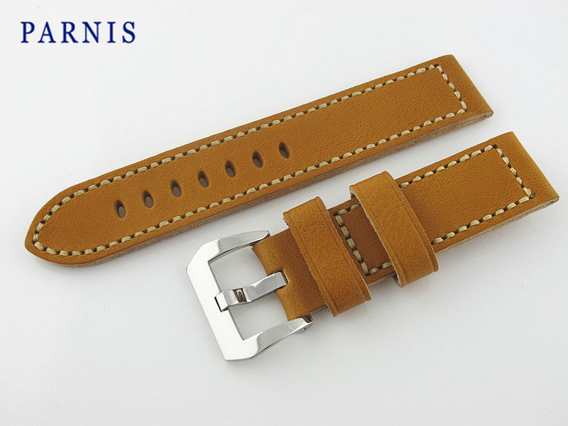24mm Brown Genuine Leather Watchband Strap with Polished Pre-V Buckle,Watch Accessories parts Free Shipping lamagio 117 la page 3
