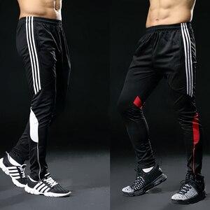 Image 1 - Спортивные штаны для мужчин, спортивные Леггинсы для фитнеса, спортзала, футбола, тонкие длинные белые штаны для бега, 2019