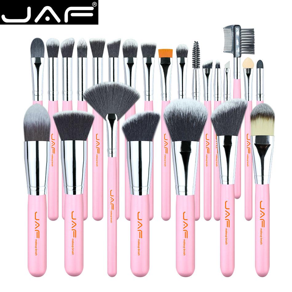 JAF Pro 24pcs Pink Makeup Brushes Set Powder Foundation Eyeshadow Make Up Brushes Cosmetics Soft Synthetic Hair J2420Y-P