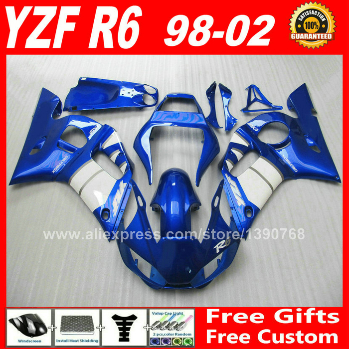 Custom paint for YAMAHA R6 fairings kit 1998 - 2002  1999 2000 2001 bodywork parts  98 99 00 01 02 fairing kits S2X2 5 second fix liquid plastic welding kit uv light repair tool glue kit