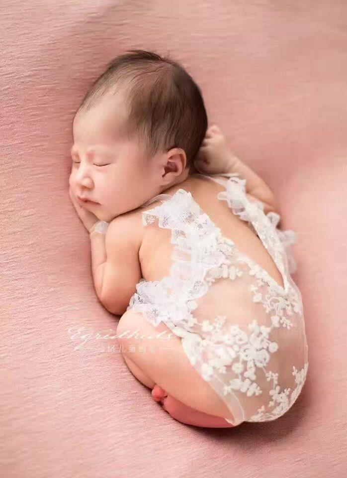 Habdmade Newborn Girl Lace Romper Newborn Onesie