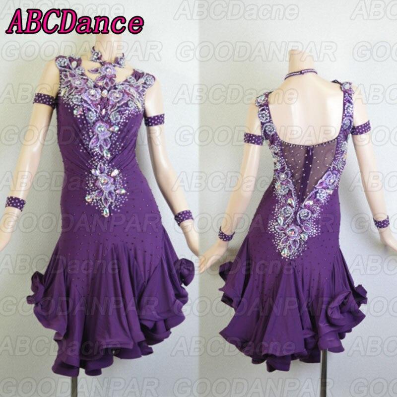 latin dance dress women purple custom handmade latin dance dress,Cha Cha Rumba Samba Tango dance dress