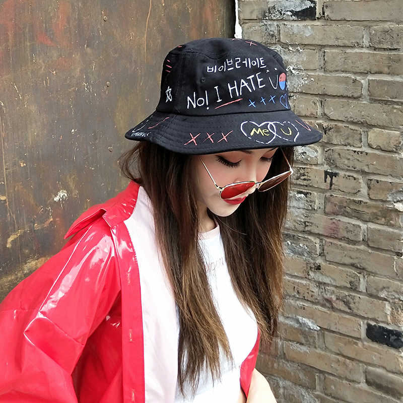 d52e4b618b3afc ... man women hip hop bucket hats sun protector hiking fishing hat chinese  canvas korea fashion unisex