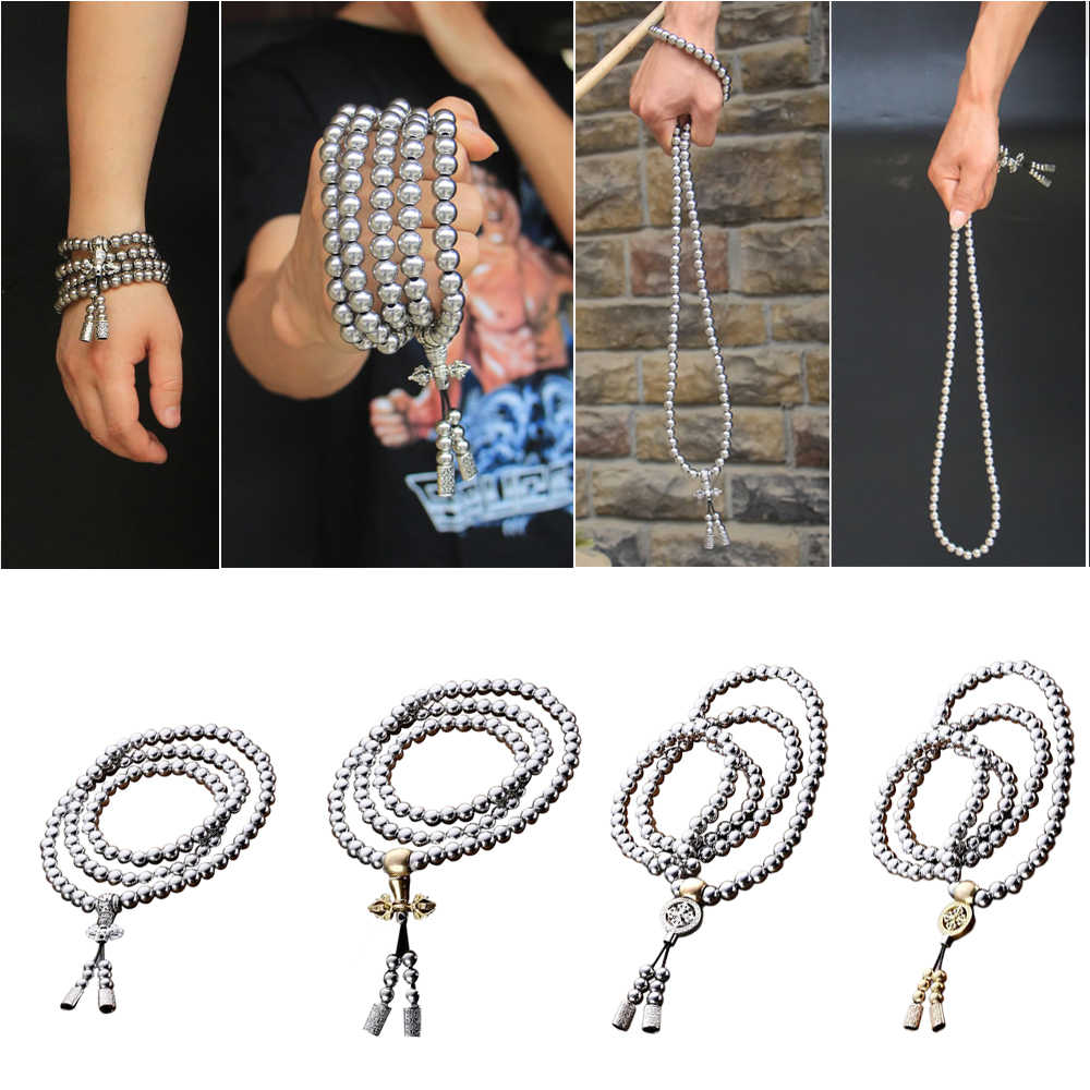 Outdoor 108 Buddha Beads Self Defense Hand Bracelet Necklace Chain Full Steel Chain Personal Protection Multi Tools