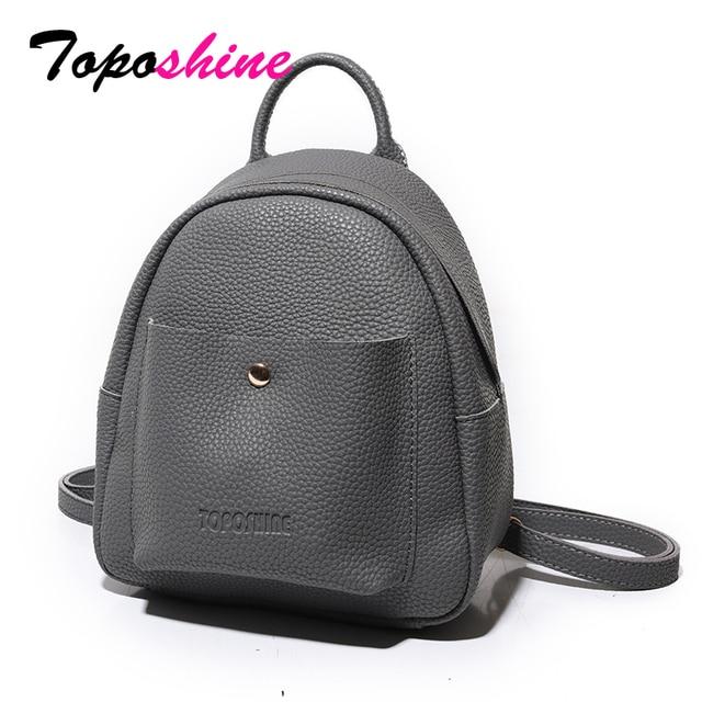Toposhine Mini Bag New Korean Backpacks Fashion PU Leather Women Shoulder Bag Solid Pattern Small Backpack Girls School Bag 9001