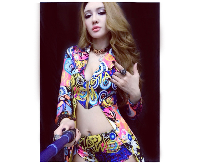 01afa94756 Hip Hop Dance Costume nightclub bar DS sexy jazz dance costume night female  singer DJ colorful stage clothing-in Chinese Folk Dance from Novelty & ...