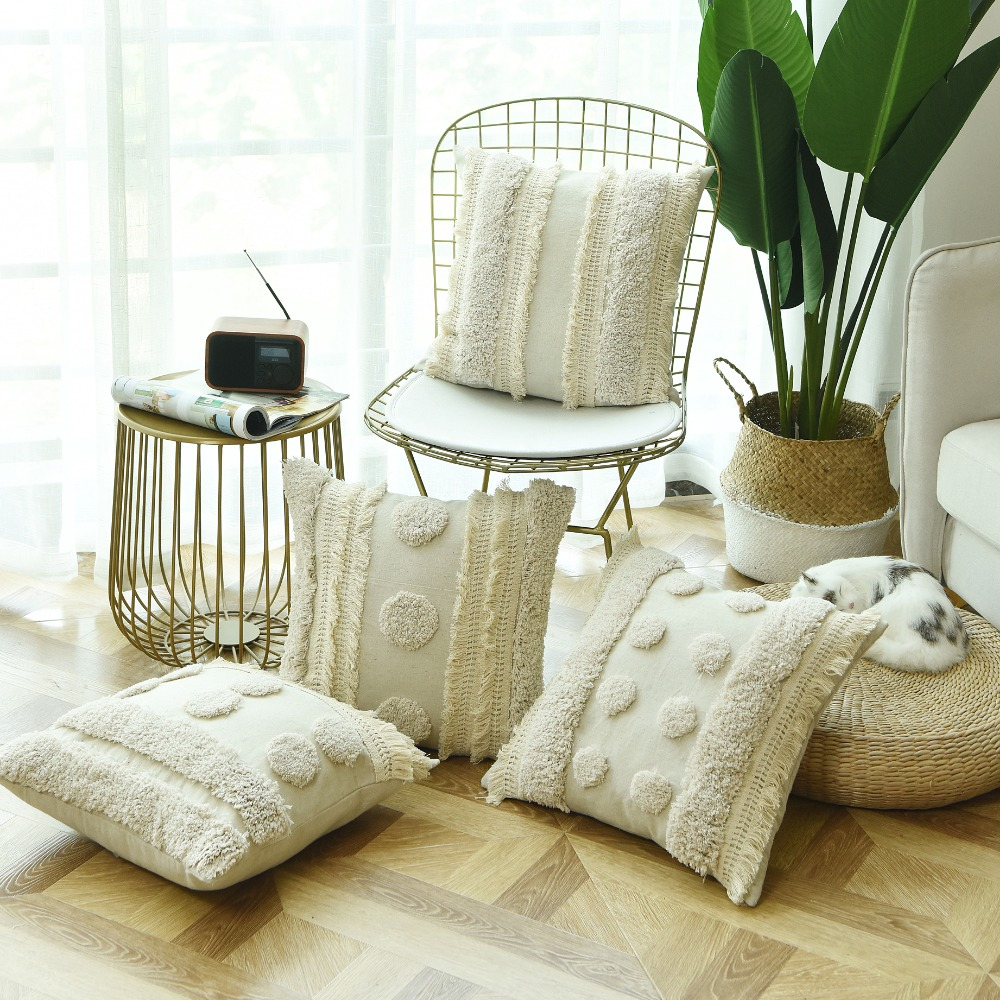 Luxury  Handmade Cushion Cover Ivory Pillow Case  Tufted Plush with Tassels For Sofa Couch Home Decorative Linen 45*45cm tassels pillow