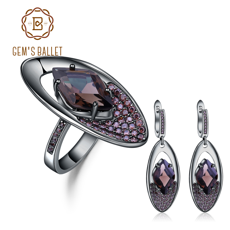 GEM S BALLET Natural Smoky Quartz Vintage Gothic Jewelry Sets Pure 925 Sterling Silver Earrings Ring