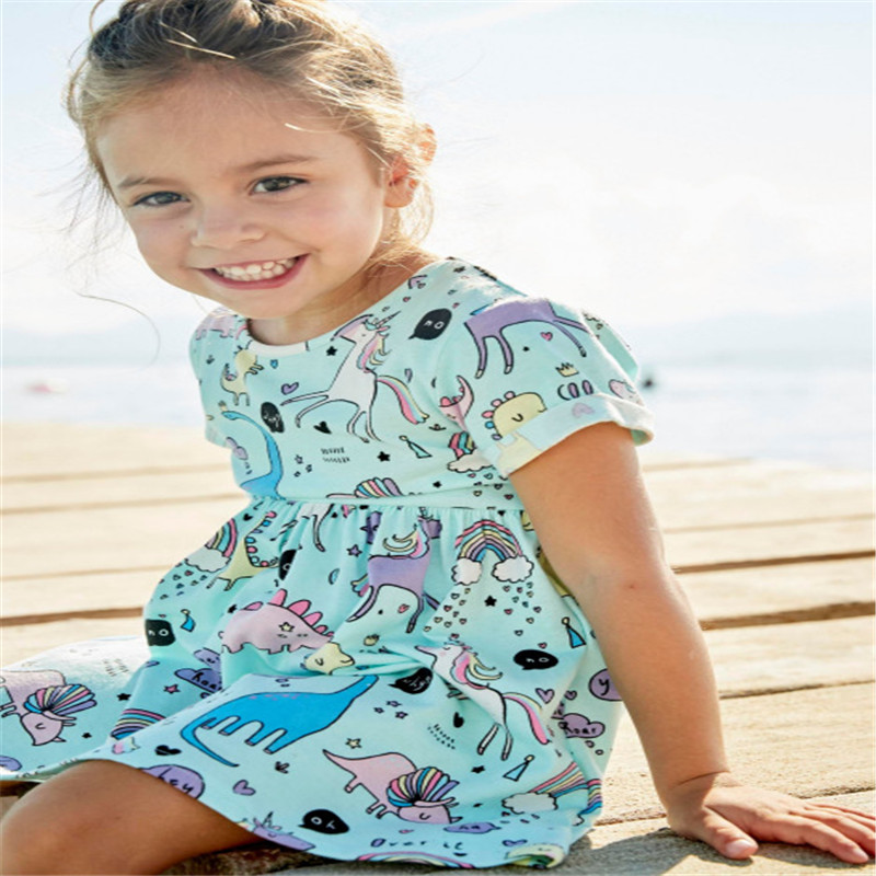 Cute baby girls cartoon dresses with printed some lovely unicorns and dinosaurs kids novelty short sleeves summer dress new 2018
