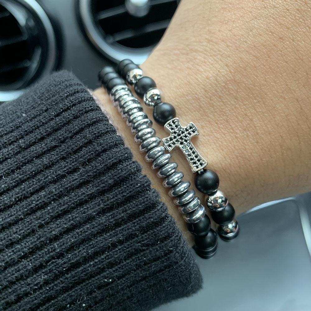 bracelet stack men fashion Bracelets set jesus zirconia cross charm Natural stone beads bracelets bangles for mens accessories in Charm Bracelets from Jewelry Accessories