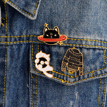 3PCS/SET Black sweater CD white cat Space black cat Cartoon pins Brooches Badges Hard enamel pins Brooch Cat jewelry(China)
