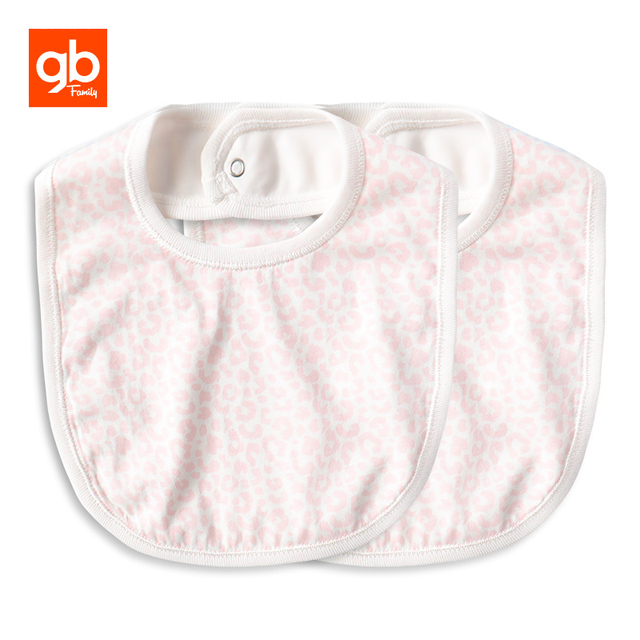 f9b243944c GB Modal 2pcs Baby Bibs Soft Absorbent Burp Cloth Leopard Prints Feeding Bib  with Buckle for
