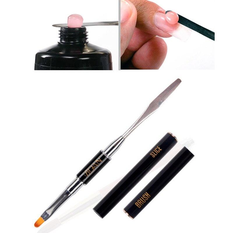 Buy UV PolyGel Poly Gel Nail Brush Dual ended Slice Shape Tool For ...
