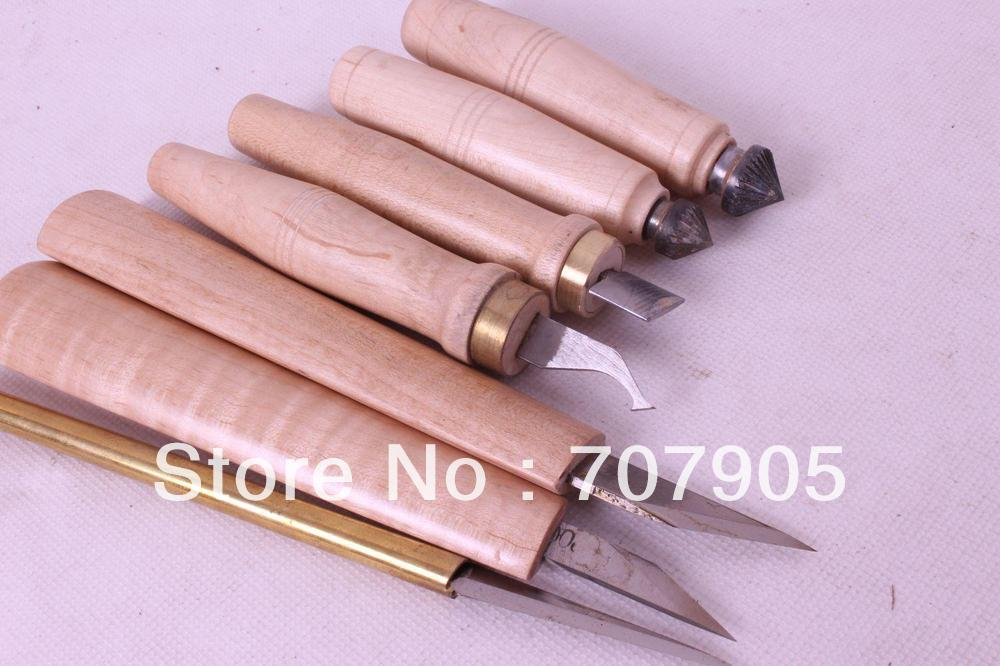 7 ks různých velikostí hoblíků, nástrojů na řezání dřeva # Q46-1
