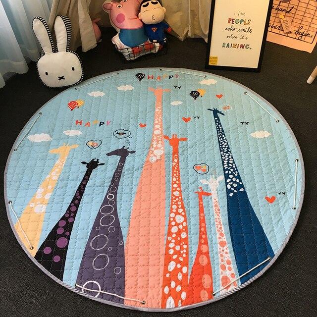 新 1.5 メートル/59 インチ子供ラウンド敷物ベビープレイマットおもちゃオーガナイザー巾着収納袋漫画の動物の子供床ゲームマット