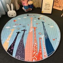 חדש 1.5m/59 Inch ילדים עגול שטיח תינוק לשחק מחצלת צעצועי ארגונית שרוך אחסון תיק קריקטורה בעלי החיים ילדים רצפת משחק מחצלת