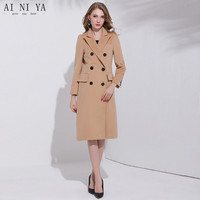 Wool Coat Winter Women Regular Woolen Cashmere Coats 2018 New Double Breasted Long Wool Coat 50% Wool 10% Polyester 40% Cashmere
