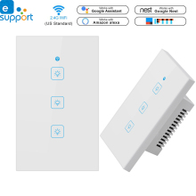 Timethinker Ewelink Smart Home Light Switch Panel Wall Interruptor US 1/2/3 Gang Wifi Switches Work with Alexa Google
