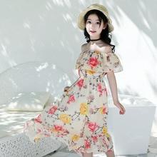 1e529432582afa Mädchen Kleid Böhmen Sommer Strand Sommerkleid 2019 Prinzessin Kleid  Chiffon Druck Teenager Kinder Kleider für Mädchen