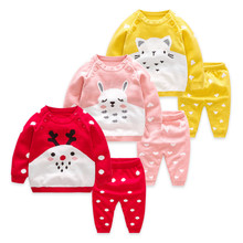 Newborn Infant Sets 2018 New Fashion Christmas Children Clothes for Girls Sweater Tops+Pants Toddler Boys Kids Suit