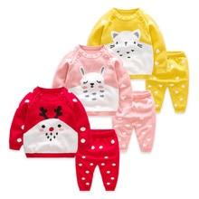 цена на Newborn Infant Sets 2018 New Fashion Christmas Children Clothes Sets for Girls Sweater Tops+Pants Toddler Boys Sets Kids Suit