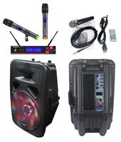 STARAUDIO 15 3500W Pro Powered/Active DJ PA USB BT FM LED RGB Light Speaker W/ 1 Wired Mic 1 Set UHF Mic SML 15RGB