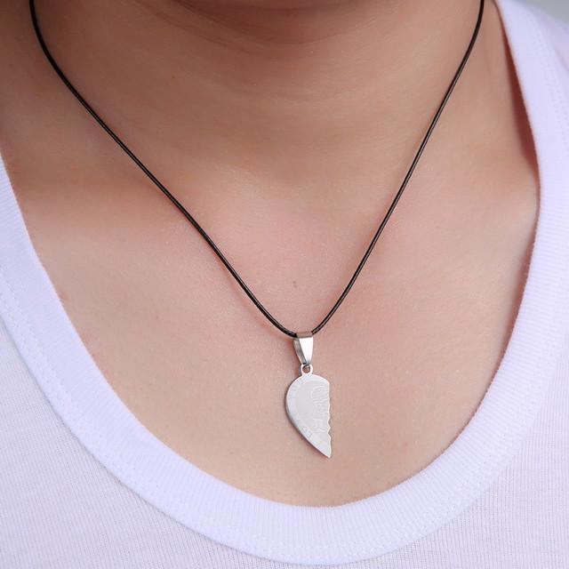 Heart Shaped Pendant Necklace Set for Couple