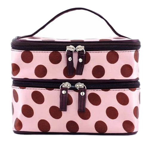 0da5c83427 Pattern  Dot Material  Polyester Condition  New without tags. Style  Retro  Color  Pink Color  Pink Size  19cm(L) x 12cm(W) x 14cm(H) Model  Makeup case