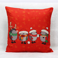 Hedgehog Christmas Festival Cushion Cover Deer Hat Sofa Room Decorative Pillows Cases Happy New Year Pillows
