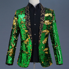 2019 New Design Night Bar Club Stage DJ Performance Clothing Male Singer Two-color Colorful Sequins