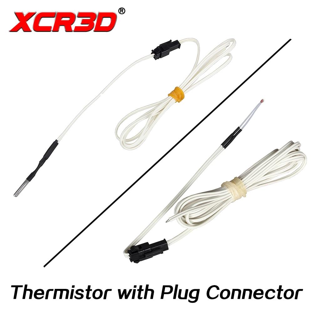 XCR3D 3D Printer Part 100k Ohm B3950 NTC Thermistor Temperature Sensor HT-NTC100K 1 Meter 1.5m 2M Cable With Plug Connector