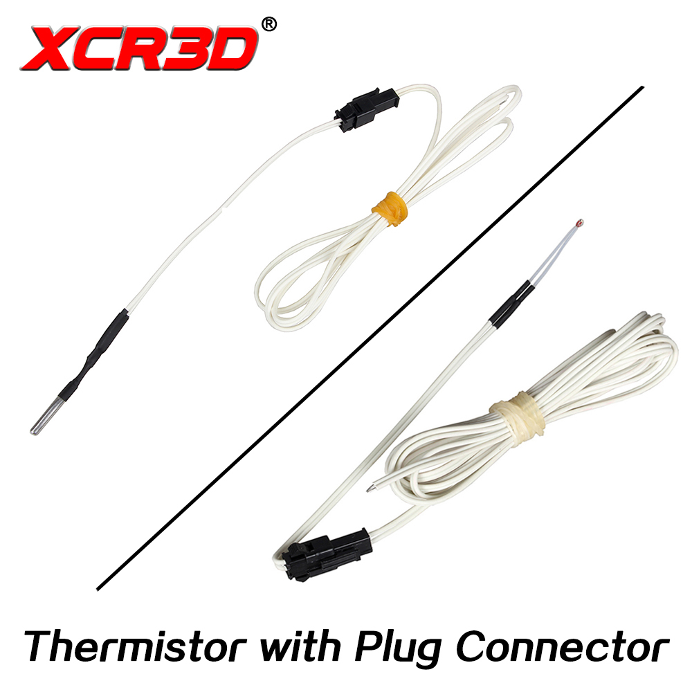 XCR3D 3D Printer Parts 100k ohm B3950 NTC Thermistor Temperature Sensor HT-NTC100K 1 Meter 1.5m 2M Cable with Plug Connector 10pcs lot 3d printer ntc thermistor 100 k accuracy 1