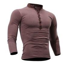 T Shirt Men 2017 Brand Male Long Sleeve Hip Hop Solid V-Neck Button T-Shirts Mens Casual Mens Slim Tshirt Slim Tee Tops XXXL BU