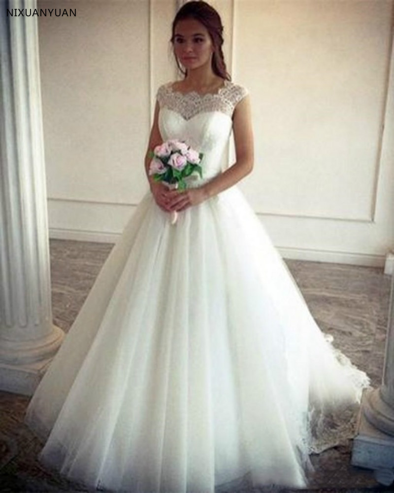 A-line Wedding Dresses Vintage Lace Cap Sleeves Tulle Princess Simple A-Line Bridal Dress Floor-Length Wedding Gown