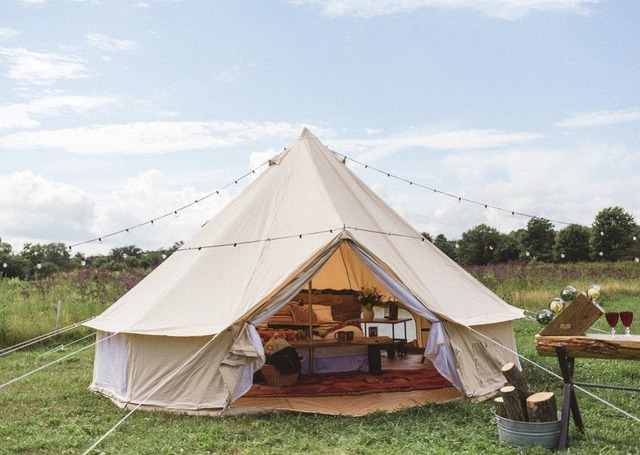 DANCHEL Cotton Canvas Bell Tent Waterproof tipi Luxury Family Tent with Stove Jacket on the wall Music Festival tent & DANCHEL Cotton Canvas Bell Tent Waterproof tipi Luxury Family Tent ...
