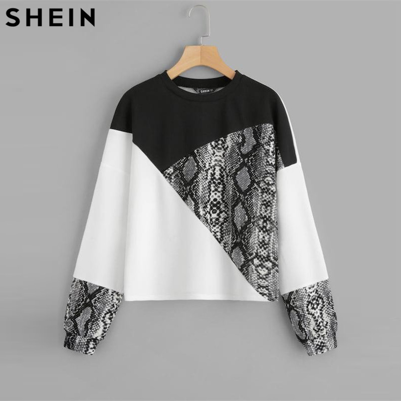 SHEIN Color Block Snake Skin Sweatshirt Preppy Round Neck Long Sleeve Pullovers Women Autumn Multicolor Sweatshirts(China)