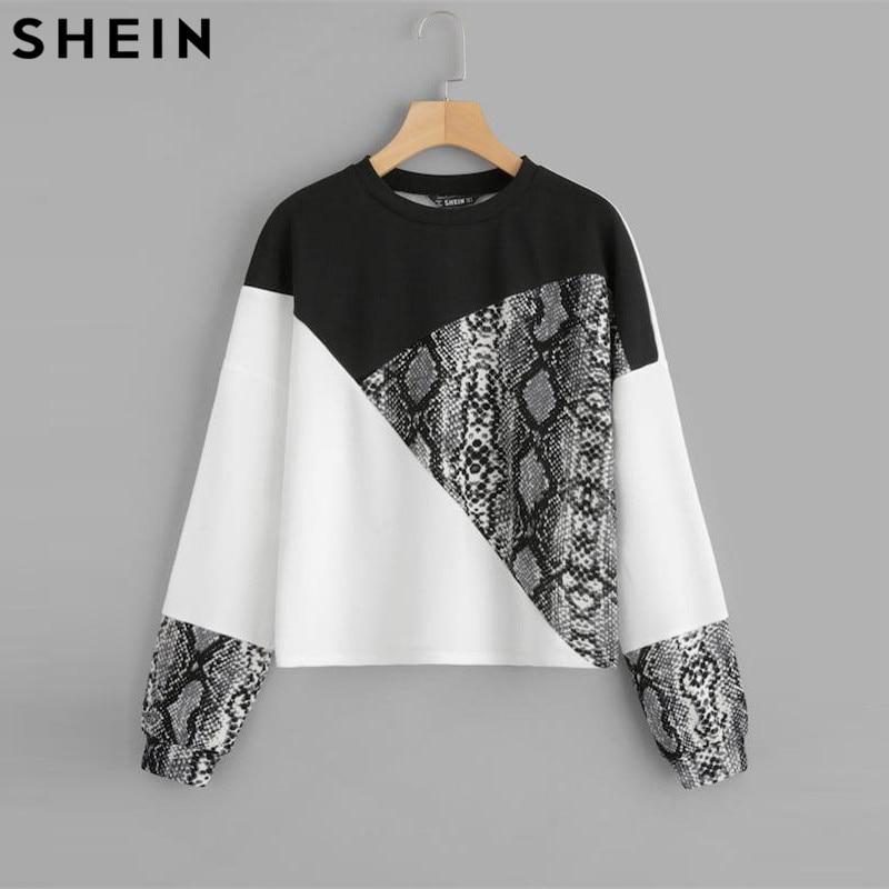 SHEIN Color Block Snake Skin Sweatshirt Preppy Round Neck Long Sleeve Pullovers Women Autumn Multicolor Sweatshirts