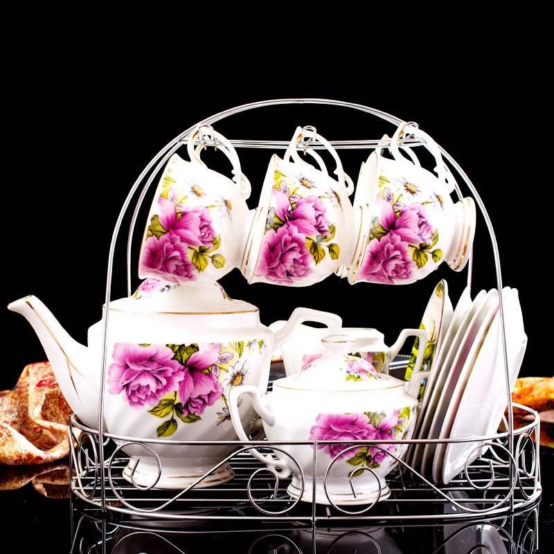 Керамика кофейник, набор 15 шт. цветок Мода чай горшок набор кофе кружки и блюдца посуда